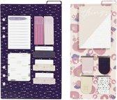 Post-it en boekenlegger set afm 10 3x22 + 13 8x22 cm paars goud roze bloemen 2vellen
