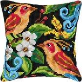kruissteekkussen 99003 paradijsvogels met bloemen