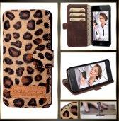 Écht Kwaliteitsleder - iPhone 5 & 5S hoesje - Luipaard FlipCase