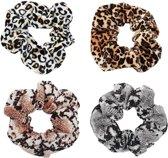 Scrunchie leopard set van 4 | set | elastiek | satijn | fluweel | haarwokkel |  haarelastiek | snake | luipaard | panter | scrunchies