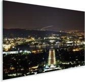 Het Australische parlementsgebouw verlicht in de nacht Plexiglas 180x120 cm - Foto print op Glas (Plexiglas wanddecoratie) XXL / Groot formaat!