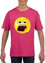 Smiley/ emoticon t-shirt moe roze kinderen L (146-152)