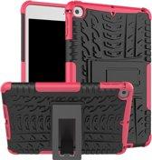 Let op type!! Band textuur TPU + PC schokbestendig geval voor iPad mini 2019  met houder (roze)