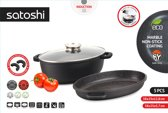Satoshi - Braadpanset van Braadpan en Sauteerpan - Braadschotel / stoofschotel - 5- delig - met Aromadeksel - Afneembare handgrepen - geschikt voor Inductie