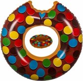 Bruine opblaasbare donut zwemband en drankhouder