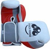 Punch Round™ Champion Bokshandschoenen Leder Wit Grijs Rood 14 OZ Punch Round Bokshandschoenen