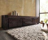 Tv-meubel Blokk acacia tabak 232 cm boekenplank 2 deuren massief hout lowboard