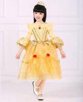 Prinsessenjurk - geel - 116/122  (labelmaat 130) - gratis kroon + staf