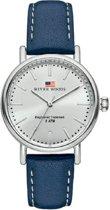 River Woods RW340021 Oswego horloge Vrouwen - Blauw - Leer 34 mm