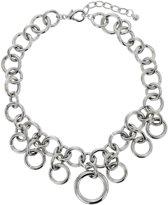 Zilverkleurige schakelketting met ronde hangers