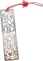 Boekenlegger - bloemen - zilverkleurig metaal - rechthoekig