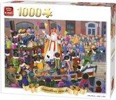 King Puzzel 1000 Stukjes (68 x 49 cm) - Sinterklaas Intocht - Legpuzzel Sint en Piet