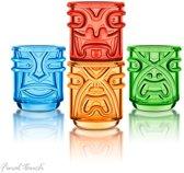 Final Touch TIKI Mugs - Tiki Bekers - Gekleurde cocktail glazen - 355 ml - Set verpakking van 4