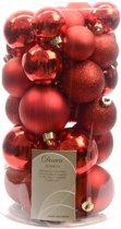 3 stuks Kerstbal plastic glans-mat-glitter assorted kerstrood KSD