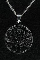 Zilveren Levensboom ketting hanger - rond