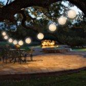 Decoratieve Witte LED Rattan Ballen Slinger - 10 Ballen - 173 cm | Snoerverlichting | Feestverlichting | Wit
