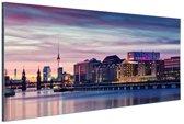 Bewolkte zonsondergang Berlijn Aluminium 120x80 cm - Foto print op Aluminium (metaal wanddecoratie)