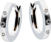 Classics&More - Witgouden Creolen Mat - 3x diamant - 0.23 ct - GH/SI3