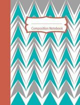 Composition Notebook: Chevron College Ruled Lined Journal: Teal Gray