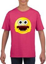 Smiley/ emoticon t-shirt geschrokken roze kinderen L (146-152)