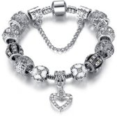 Bedelarmband hart zilver