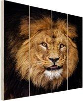 Leeuw portret fotoafdruk Hout 60x80 cm - Foto print op Hout (Wanddecoratie)