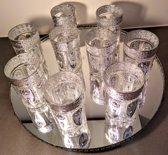Set van 6 Marokkaanse theeglazen met zilveren details