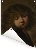 Het Jongenskopje - Schilderij van Rembrandt van Rijn Tuinposter 120x160 cm - Tuindoek / Buitencanvas / Schilderijen voor buiten (tuin decoratie) XXL / Groot formaat!