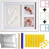AWEMOZ® Baby Fotolijst - Klei Afdruk Hand/Voet - Kraamcadeau - 3D Collage - 54 extra letters
