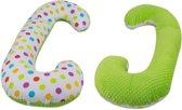 Voedingskussen - Zwangerschapskussen - 100% katoen - 240 cm - stipjespatroon - groen