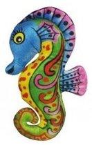 Pluche knuffel zeepaardje blauw 27 cm