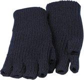 Handschoen rondgebreid blauw 100% acryl zonder vingers