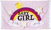 Geboorte vlag meisje rainbow baby girl 150 × 90 cm
