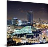 Het verlichte Manchester tijdens de nacht Aluminium 50x50 cm - Foto print op Aluminium (metaal wanddecoratie)