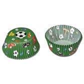Papieren cupcake vormpjes - voetbal - set van 50 - Städter