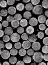 Fotobehang Piled Tree Trunks   XXL - 206cm x 275cm   130g/m2 Vlies