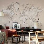 Fotobehang Vervlogen Tijden 384x260 cm - topkwaliteit vliesbehang - Ouderwetse Wereldkaart Behang