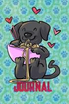 Journal: Cute Black Lab Eating Noodles Journal 6''X9'' 120 Pages Lined Notebook