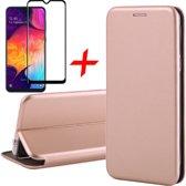 Samsung Galaxy A30s Hoesje + Screenprotector Full Screen - Book Case Flip Wallet - iCall - Roségoud