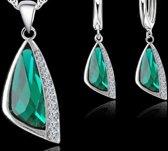 925 sterling zilveren sieradenset-Groen