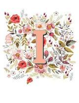 I Monogram Letter Floral Wreath Notebook