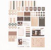 Set van 2 Stickervellen Vintage Taupe | Agenda & Kalender Stickers