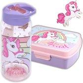 Broodtrommel + drinkfles Unicorn   Lunchbox eenhoorn   kinderen BPA vrij LS16