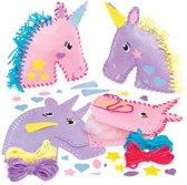 Maak ontwerp je eigen kussennaaisets eenhoorn - knutselspullen voor kinderen (2 stuks)