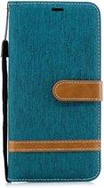 Samsung Galaxy A7 (2018) Hoesje - Denim Book Case - Groen