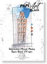 (Art.no. 364330) PapiArt 150x210 mm 270 grs. Black Aquarel/Mixed Media Black 63-90 15 vel