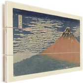 Helder weer en een zuidelijke wind - Schilderij van Katsushika Hokusai Vurenhout met planken 40x30 cm - klein - Foto print op Hout (Wanddecoratie)