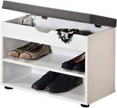 Schoenenkast met Optilbaar GRIJS Zitkussen   Schoenenbank met Optilbare Klep voor extra opslagruimte   Afm. 60 x 30 x 45 Cm.   Kleur: WIT