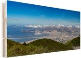 Het stadslandschap van Italië vanaf de Vesuvius in het Nationaal park Vesuvius Vurenhout met planken 40x20 cm - Foto print op Hout (Wanddecoratie)