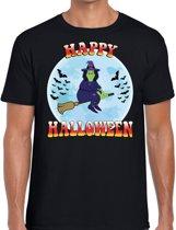 Happy Halloween verkleed t-shirt zwart voor heren - horror heks/vleermuizen shirt / kleding / kostuum M